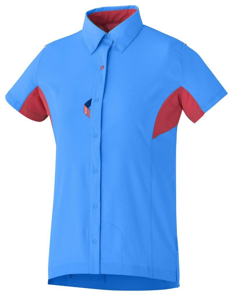 Shimano Kurzarmtrikot Button-Up Damen Lightning Blau/jazzberrys