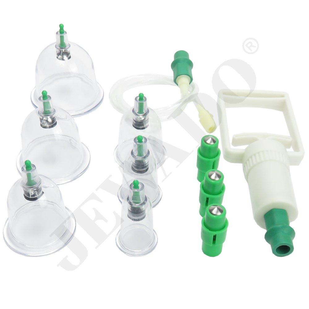 Schröpfen Set für Vakuum Massage aus Kunststoff + Vakuumpumpe im Set mit 6, 12 oder 24 Schröpfgläser (Set 12 Stück) WG