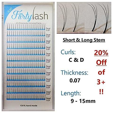 Eyelash Extension 3D-Premade Volume-Lash-Fans .07mm Thick D Curl Choose Length 9 to 15 plus Mixed Ship 1-4 days (13 Short - 13 Stems
