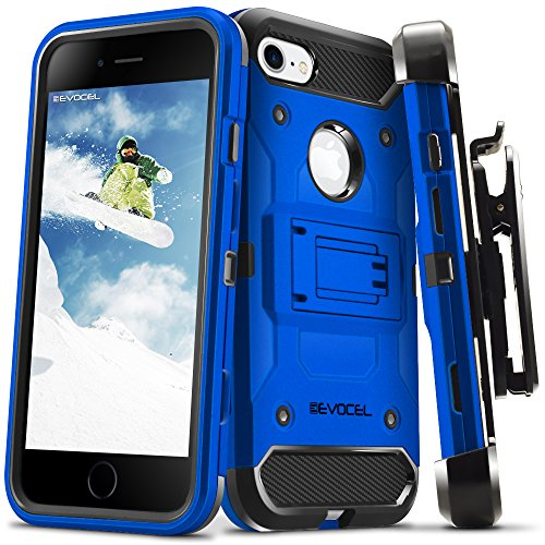 iPhone 7 / iPhone 6 Case, Evocel [Trio Pro Series] Textured Body, Multiple Layers, Kickstand for iPhone 7 / iPhone 6 & 6s, Deep Blue (EVO-IPH7-HH02)