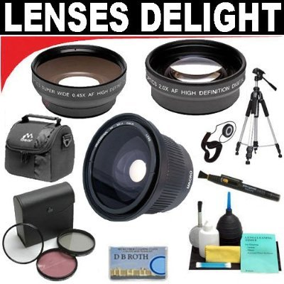 .42x HD Super Wide Angle Fisheye Lens + 2x Digital Telephoto Professional Series Lens + 0.5x Digital Wide Angle Macro Professional Series Lens + 3 Piece Digital Camera Filter Kit - E300 Tripod