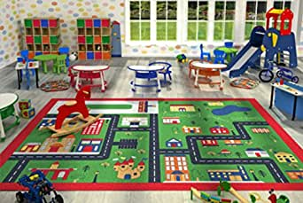 Kids Children Large Girls Boys Fun Rugs Green Town (100x165cm) City Playground Bedroom Playroom Floor Mat Non Slip Play Available in 2 Sizes by FunkyBuys