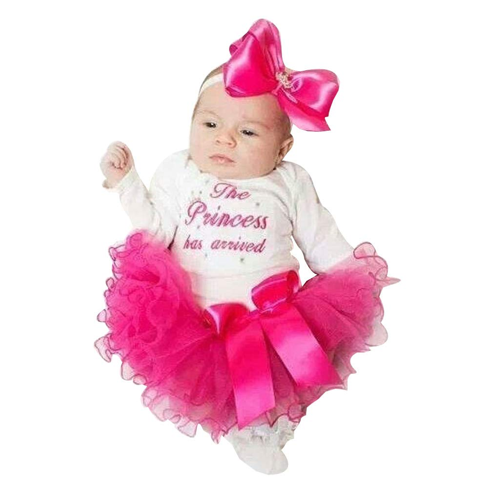 AMSKY❤ Gender Neutral Baby Clothes,Newborn Infant Baby Girls Letter Romper Tops+Tutu Skirts Outfits Clothes Set pants106