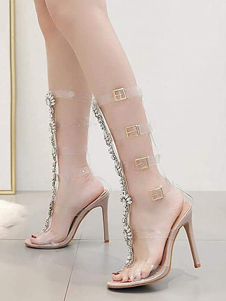 23f89d871d5c Amazon.com  WSKEISP Women s Summer Boot Knee High Sandal Rhinestone Gladiator  Sandals Transparent Strappy Stiletto High Heels  Shoes