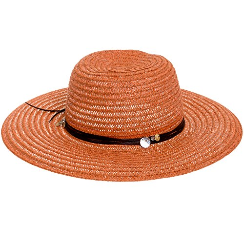 - Scala Womens Toyo Big Brim Paper Braid Sun Hat (Rust)
