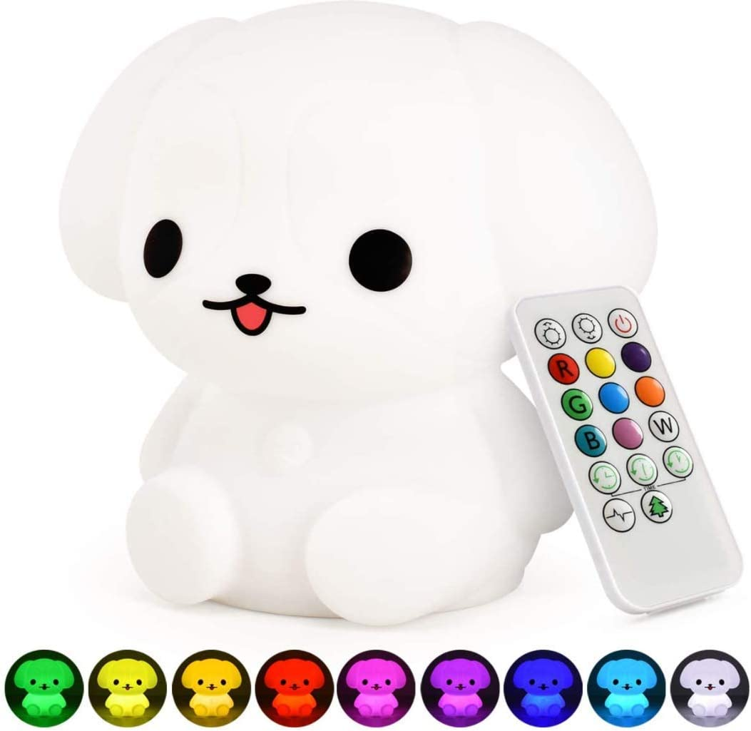 Pacefic Soft Silicone Puppy LED Baby Night Light for Kids and Girl Nursery Decor Cute Toddler Toys for Gifting Teen Girls LED Cute Portable and Rechargeable