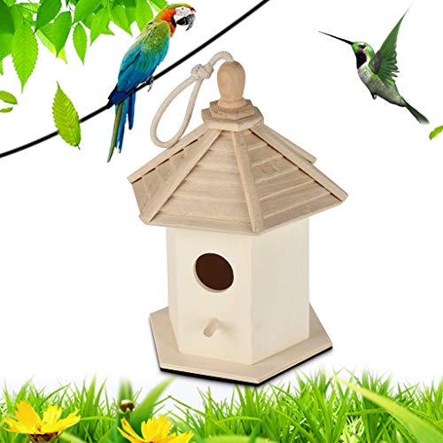 m·kvfa Premium Quality Wooden Bird House Resting Place for Birds Provides Shelter from Cold Weather DIY Nest DOX Bird Box Ideal for Finch & Canary (B)