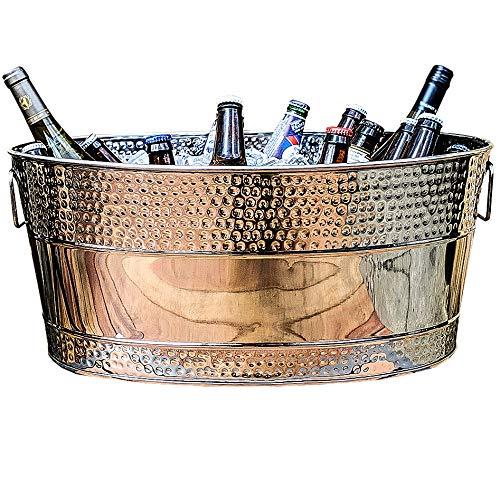 BREKX Aspen Hammered Stainless Steel Beverage Tub & Party Drink Chiller - 25 Quarts - Mirror-Silver -