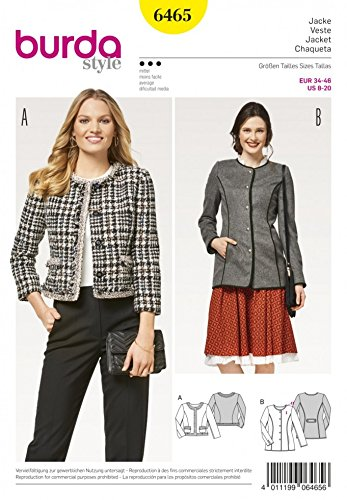 Burda Ladies Sewing Pattern 6465 Collarless Jackets