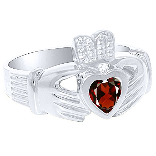 Unisex His or Hers Simulated Garnet Claddah Ring Love, Loyalty & Friendship Ring 14K Yellow Gold or 14K White