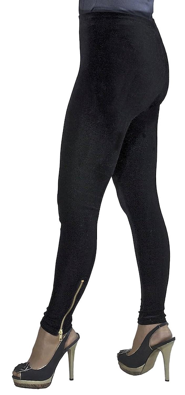 Ladies Smart Soft Stretch Black Velvet Leggings