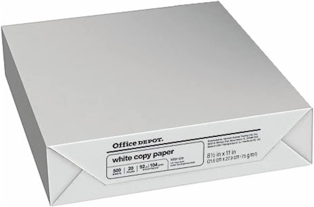 Office Depot Copy Fax Laser Inkjet Printer Paper, 8 1/2 Inch X 11 Inch Letter Size, 20 Lb, 92 Us / 105 Euro Bright White, Acid Free, Ream, 500 Total Sheets (273646/Ream)