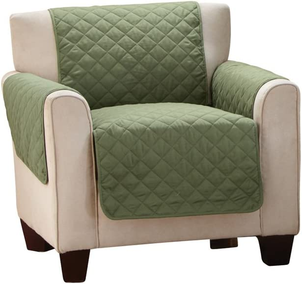 Collections Etc Reversible Quilted Furniture Protector Cover, Olive/Sage, Chair