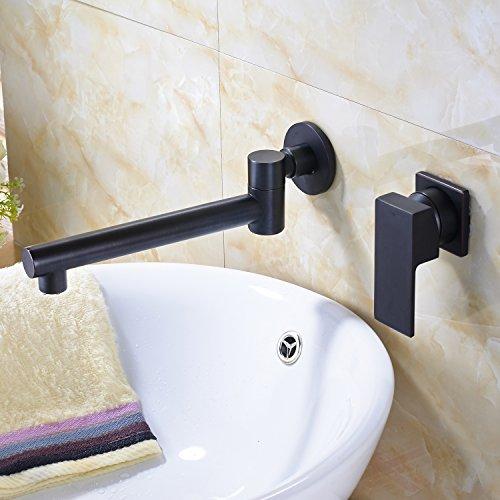 Rozin Oil Rubbed Bronze Widespread Swivel Spout Bathroom Sink Faucet Wall Mount 2 Holes Vanity Mixing ()