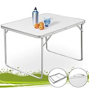 Table de camping pliante 80x60x68cm Blanc Meuble extérieur intérieur repas