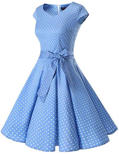 Années Vintage Blue 0 De Version Rétro Courtes 1950's Manches 50 Dresstells Robe 6 Cocktail Style Dot Soirée Small White HDIWE29