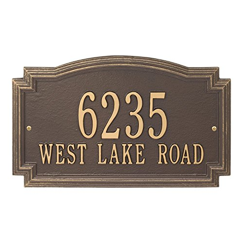 (Whitehall Barcelos Custom Address Plaque - One or Two Lines Options, Choose Your Style and Color (Two Lines, Bronze/Gold))