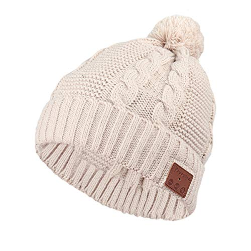 Music Hat, Bluetooth Headphones Built-in with Microphone Wireless Washable Knit Pom Beanie
