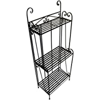 Folding Piper Bakers Rack Three Shelves - Black