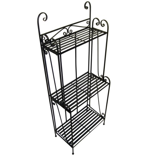 Folding Piper Bakers Rack Three Shelves - Black by Pangaea Home and Garden