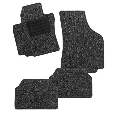 CarFashion 255277 BasicRips DL4, Auto Fussmatte in schwarz meliert, Automatte, schwarzer Trittschutz, schwarze Hochglanz Kettelung, Auto Fussmatten Set ohne Mattenhalter