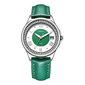 Comtex Women's Quartz Wrist Watches with Fresh Green Tone Leather Strap Mystic Forest Watch