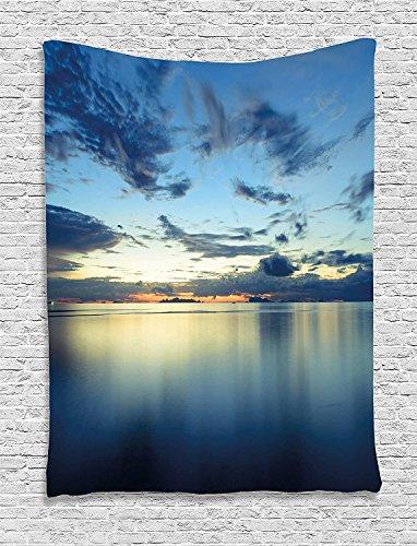 Blue Tropic Monogram - Supersoft Fleece Throw Blanket Scenery House Long Photo of Dramatic Dusk Sunset over Calm Peace Tropic Azure Lagoon Ocean Blue
