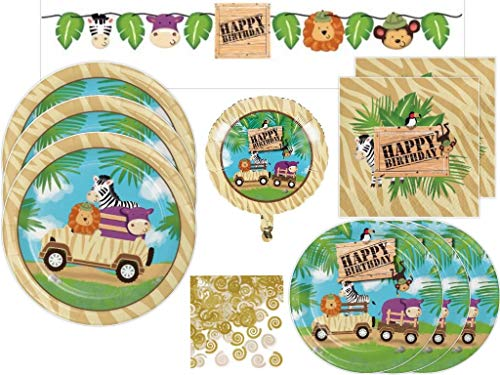 Jungle Animals Safari Zoo Adventure Birthday Party Supplies Kit Includes Dinner Plates, Dessert Plates, Napkins, Banner and Balloon for 24 -