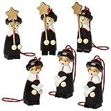 Set of Six Wooden Nativity Christmas Tree Decorations Designed in Germany - Christmas Carolers Nativity Set