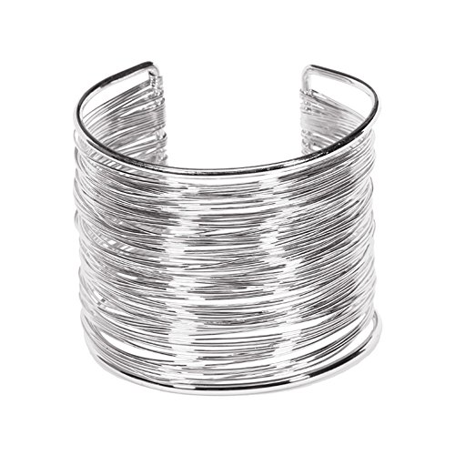 Silver Cuff Bracelet Bangle (Yueton Silvertone Rigid Steel Memory Wire Metal Circle Split Ring Coil Wire Thin Jewelry Hammered Bunch Cuff Bracelet Bangle (Silver))
