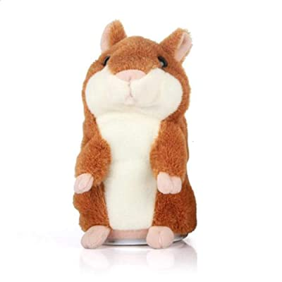 Gaonana Cheeky Hamster Talking Hamster Repeats What You Say Electronic Pet Talking Plush Toy Christmas Toy Speak Sound Record Hamster Gift (L, 6.3''): Toys & Games