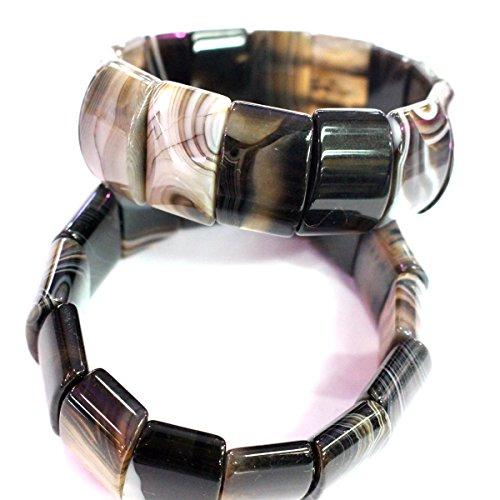 Gemstones Bead Stretch Beaded Bracelet (Black) (Black Banded Agate Gemstone)