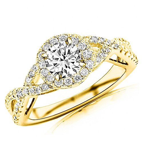Chandni Jewels 1.28 Cttw 14K Yellow Gold Round Cut Twisting Split Shank Eternity Love Halo Style Diamond Engagement Ring with a 0.85 Carat J-K Color SI1-SI2 Clarity Center - Si1 Clarity Good Color Very
