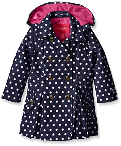 London Fog Little Girls Lightweight Polka Dot Trench Coat, Navy, 6X