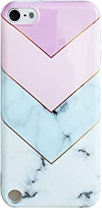 J.west Case for New iPod Touch 7, iPod Touch 6th Generation, iPod Touch 5 Marble Pattern Print Cute Clear Soft Silicone Cover for Girls/Women Flex Slim Pattern Design Drop Protective Case(Purple)