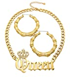 Crescendo SJ INC ICED OUT QUEEN PENDANT FASHION NECKLACE & PINCATCH HOOP EARRING SET - RC2977G