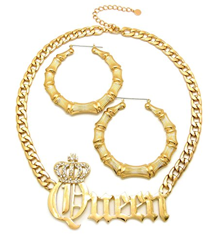 NYFASHION101 Stone Stud Crowned Queen Pendant Necklace with Bamboo Hoop Earrings Jewelry Set