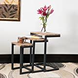 Industrial Rustic Wood 3 Piece Nesting End Table with Metal Legs - Includes Modhaus Living Pen