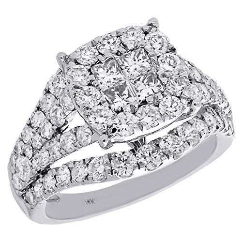 Jewelry For Less ATL 14K White Gold Quad Princess Cut Diamond Split Shank Circle Halo Contoured Engagement Ring 2.50 Cttw