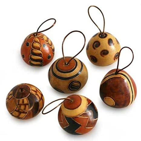 Natural Carved Mate Gourd Ornaments, 'Festive Geometries' Peru Artisan  Christmas (set of - Amazon.com : Natural Carved Mate Gourd Ornaments, 'Festive