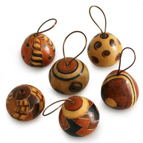 Natural Carved Mate Gourd Ornaments, 'Festive Geometries' Peru Artisan Christmas (set of 6) *1180* (Traditions Peru In Christmas)