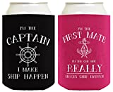 Sailing Gifts Captain First Mate Ship Happen Bundle Nautical Gifts 2 Pack Can Coolie Drink Coolers Coolies Black Magenta