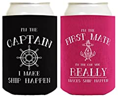 A perfect new boat owners gift or couples gift for sailing or boating enthusiasts. This vintage style can cooler is perfect for keeping your drink cool while the party heats up. Coolies make a great gift or party favor. They are a memento wit...
