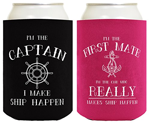 Sailing Gifts Captain First Mate Ship Happen Bundle Nautical Gifts 2 Pack Can Coolie Drink Coolers Coolies Black Magenta ()