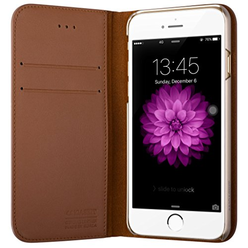 100% Handmade Italian Leather - iPhone 6/6S Folio Wallet Case - iCASEIT Handmade Premium Quality 100% REAL Genuine Italian Cowhide LEATHER Credit Card Slot Holder Protective Leather Bumper Case - iPhone 6S & 6 Flip Cases - BROWN