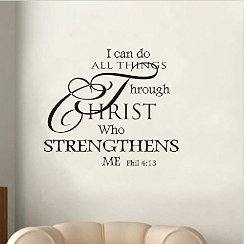 Soledi® Wall Decal I Can Do All Things Through Christ Who Strengthens Me Wall Decal Quotes Vinyl Wall Sticker Mural Art Wall Decor Bedroom Living Room, Black
