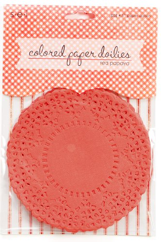 Sew Easy Industries 25 Doilies, 4 by 4-Inch, Red Papaya