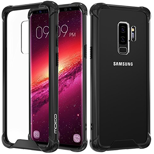 Samsung Galaxy S9 Case, MoKo Crystal Clear Reinforced Corners TPU Bumper Cushion & Anti-scratch Hybrid Rugged Transparent Panel Cover for Samsung Galaxy S9 5.8 Inch 2018 - Black & Clear