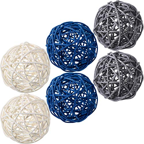 Yaomiao 6 Pieces Wicker Rattan Balls Decorative Orbs Vase Fillers for Craft Project, Wedding Table Decoration, Themed Party, Baby Shower, Aromatherapy Accessories, Diameter 3.0 Inch (Blue Gray White)