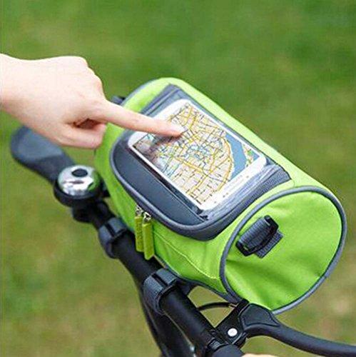 FOLLOWUS Fahrradtasche Fahrradlenkertasche Radfahren Handyhalterung Wasserdichte Fahrradrahmentasche 11(Durchmesser) * 22(Länge)cm- Grün